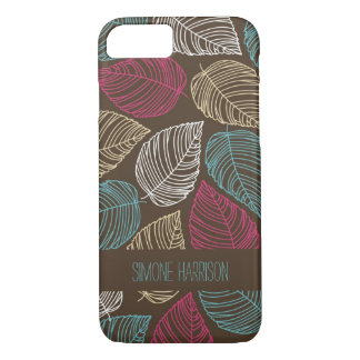 Pink Blue Brown Modern Doodle Leaves Pattern iPhone 7 Case