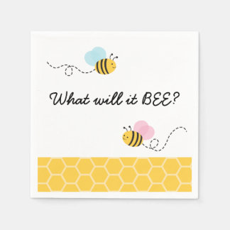 Pink & Blue Bumble Bee Gender Reveal Paper Napkins