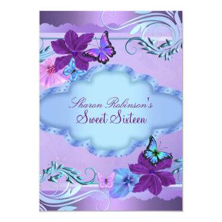 Pink & Blue Butterfly Garden Sweet 16 Invite
