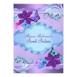 Pink & Blue Butterfly Garden Sweet 16 Invite 13 Cm X 18 Cm Invitation Card