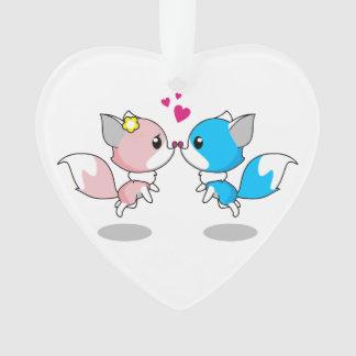 Pink & Blue Cartoon Fox Couple Christmas Ornament