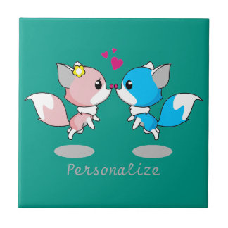 Pink & Blue Cartoon Fox Couple Small Square Tile