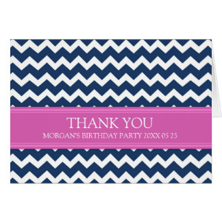 Pink Blue Chevron Birthday Party Thank You Card