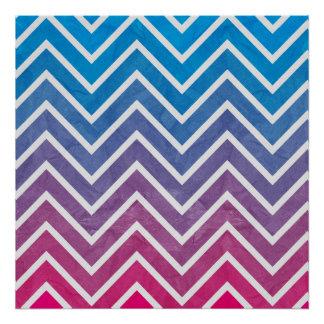 Pink Blue Chevron Pattern Poster