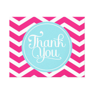 Pink Blue Chevron Thank You Stretched Canvas Prints