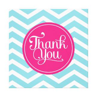 Pink Blue Chevron Thank You Canvas Print