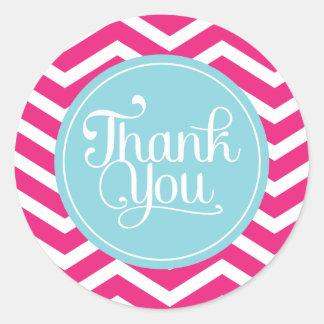 Pink Blue Chevron Thank You Round Sticker
