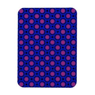 pink blue circle pattern rectangular photo magnet