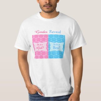 Pink Blue Damask Baby Gender Reveal Party Man's Tshirt