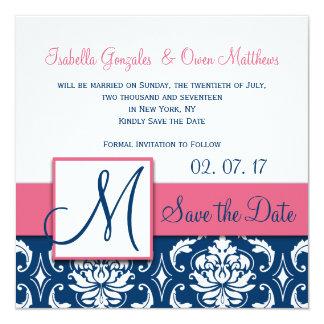 Pink Blue Damask Monogram Save the Date Card