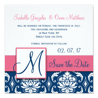 "Pink Blue Damask Monogram Save the Date Card 5.25"" Square Invitation Card"