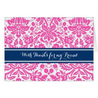 Pink Blue Damask Thank You Bridesmaid Friend Greeting Card