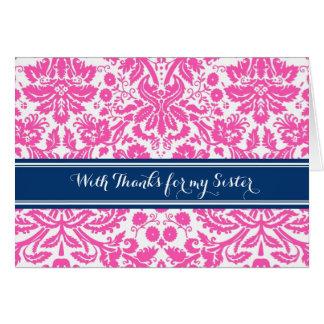 Pink Blue Damask Thank You Bridesmaid Sister Greeting Card