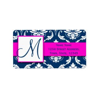Pink Blue Damask Wedding RSVP Return Address Address Label