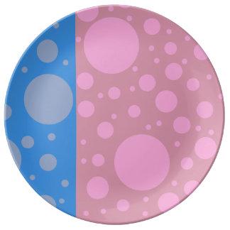 Pink Blue Dots 27.3 cm Decorative Porcelain Plate