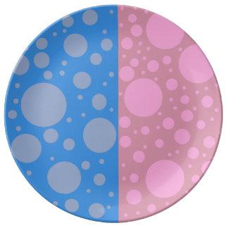 Pink Blue Dots  Decorative Porcelain Plate