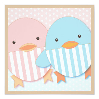 Pink & Blue Ducky Twin Boy & Girl Baby Shower 5.25x5.25 Square Paper Invitation Card