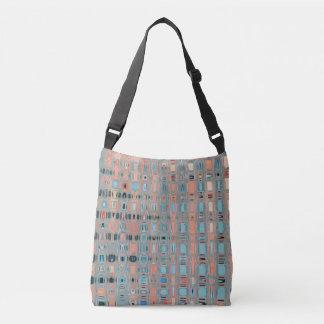 Pink Blue Earth Toned Pattern Crossbody Bag