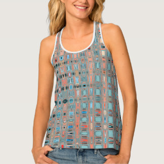 Pink Blue Earth Toned Patterns Singlet