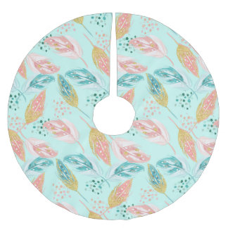 Pink & Blue Feather Tribal Chic Tree Skirt