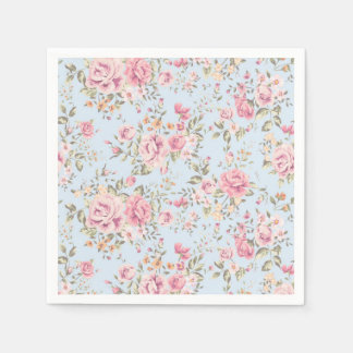 Pink & Blue Floral Shabby Chic Napkins Disposable Serviette