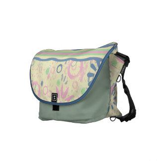 Pink & Blue Floral & Stripes Rickshaw Bag Commuter Bag