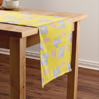 Pink Blue Flowers on Bright Yellow Short Table Runner