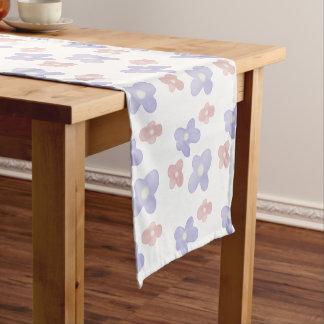Pink Blue Flowers on White Short Table Runner
