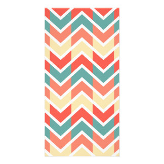 Pink Blue Geometric Design Abstract Zigzag Pattern Personalized Photo Card