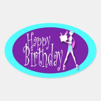 Pink blue girls birthday shopping sticker