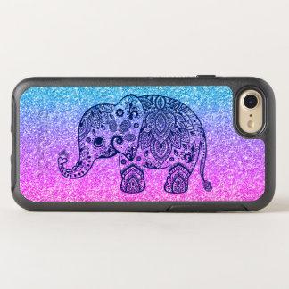 Pink & Blue Glitter & Blue Paisley Elephant OtterBox Symmetry iPhone 8/7 Case