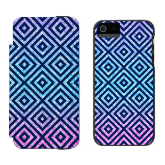 Pink & Blue Glitter With Modern Geometric Pattern Incipio Watson™ iPhone 5 Wallet Case