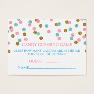Pink Blue Gold Dots Candy Guessing Game Card