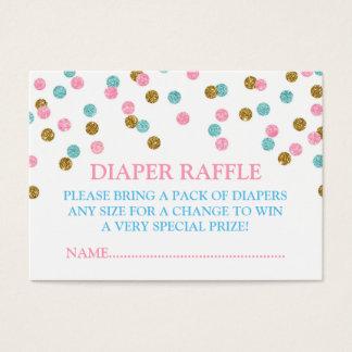 Pink Blue Gold Dots Diaper Raffle Card