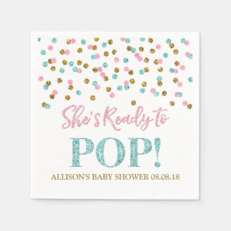 Pink Blue Gold Dots She's Ready to Pop Disposable Serviette