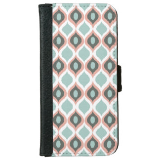 Pink Blue Gray Geometric Ikat Tribal Print Pattern iPhone 6 Wallet Case