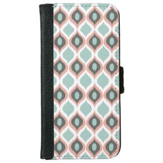 Pink Blue Gray Geometric Ikat Tribal Print Pattern iPhone 6 Wallet Case