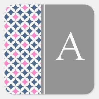 Pink Blue Gray Monogram Envelope Seal Square Sticker