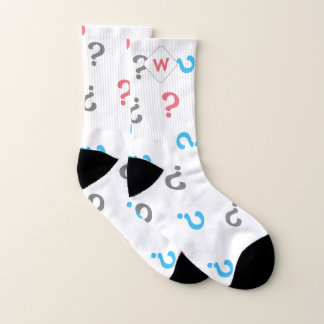 Pink Blue Gray Question Marks Monogrammed Socks
