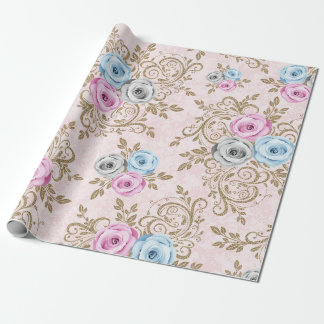 Pink Blue Gray Rose Gold Floral Baroque Antoniette Wrapping Paper