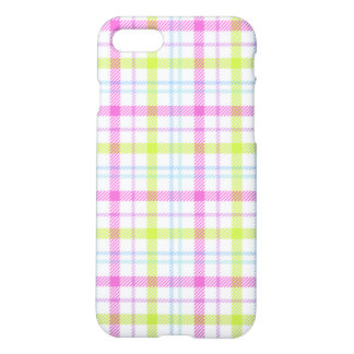 Pink, blue, green and white tartan iPhone 7 case