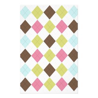 Pink Blue Green Brown Diamond Pattern Custom Stationery