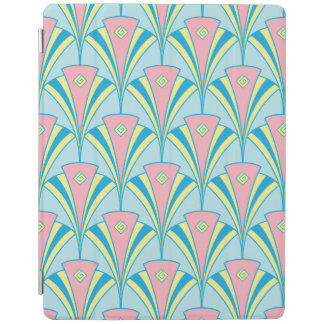 Pink Blue Green Fan Pattern iPad Cover