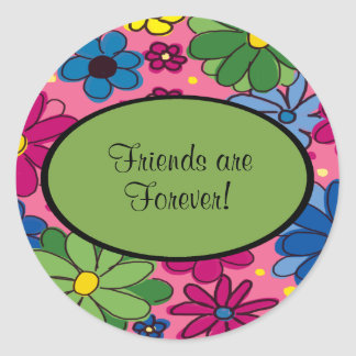Pink Blue Green Floral Friends are Forever Sticker