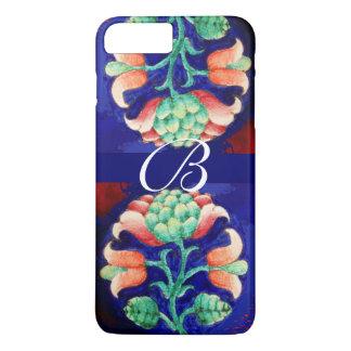PINK BLUE GREEN FLORAL MONOGRAM iPhone 8 PLUS/7 PLUS CASE