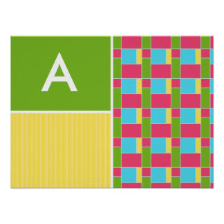 Pink, Blue, Green, & Yellow Rectangles Poster