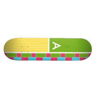 Pink Blue Green Yellow Rectangles Custom Skateboard