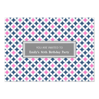 Pink Blue Grey 40th Birthday Party Invitation