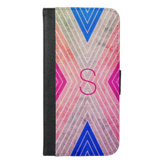 Pink, Blue, Grey Color Design with Pink Monogram - iPhone 6/6s Plus Wallet Case