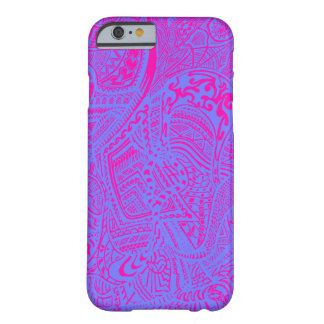 Pink/Blue Hand-drawn Abstract Tribal Crazy Doodle Barely There iPhone 6 Case